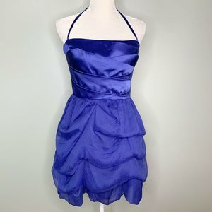 Bebe Dress M Sapphire Cary Side Zip Tulle Silk